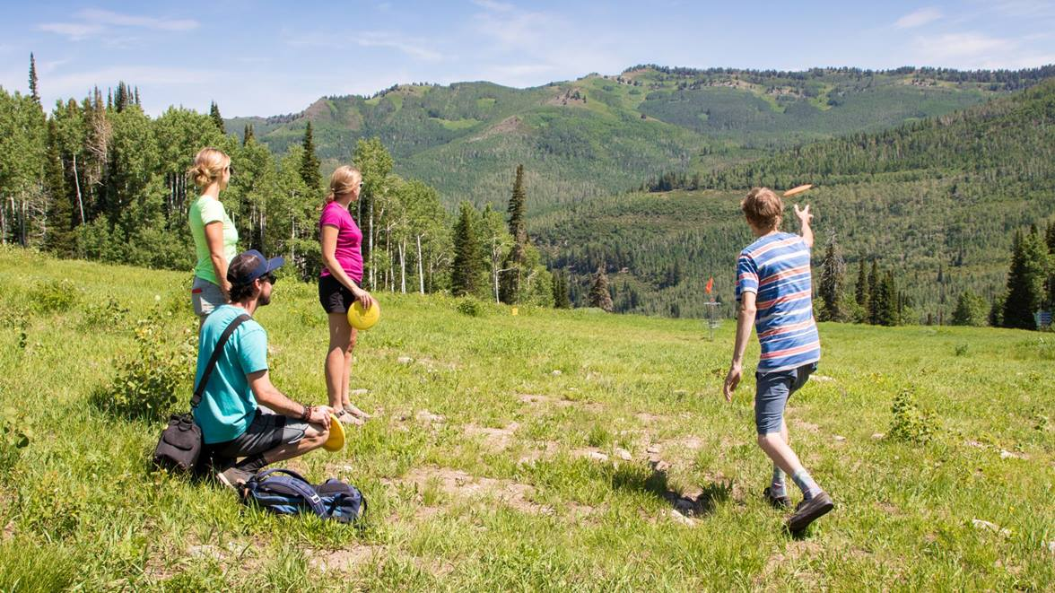 A group playing disc golf throwing a disc long range through a field